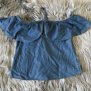 XS BNWT Express chambray off the shoulder crop top